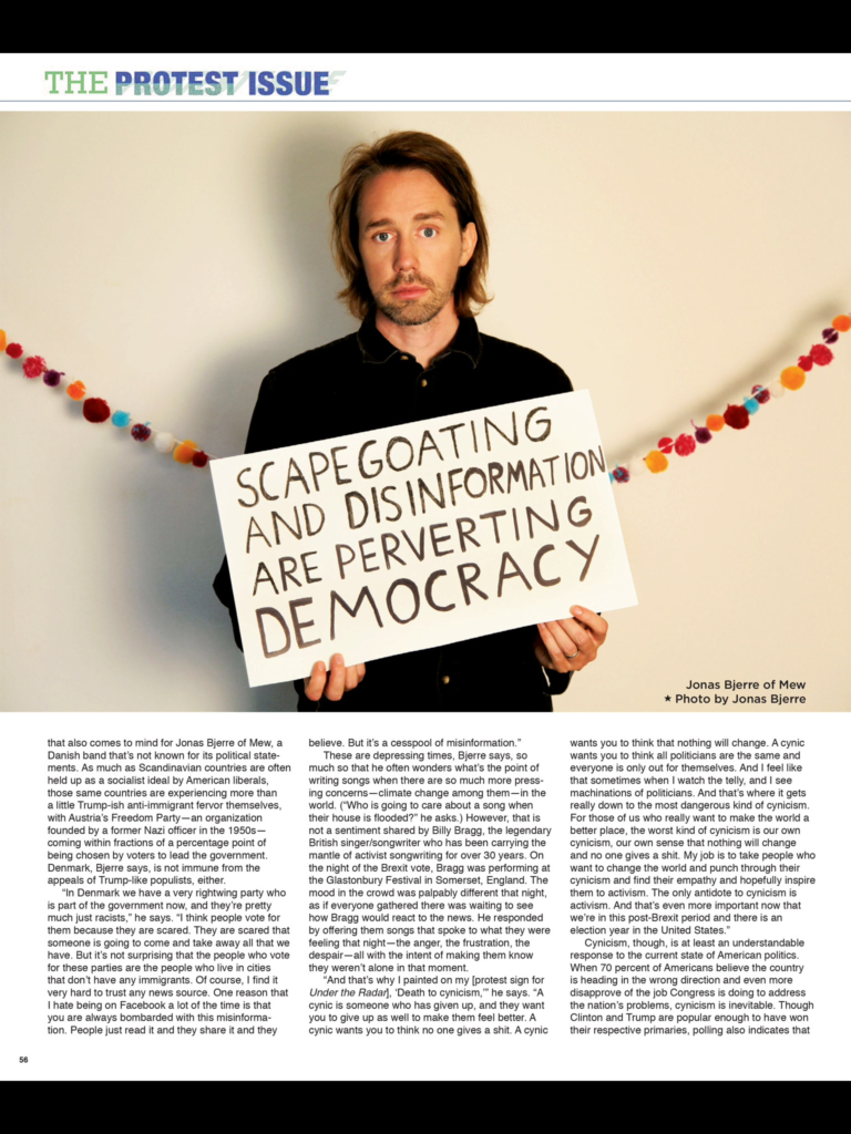 """Here is the section of the article from """"Under the Radar"""" magazine's protest issue which featu"""